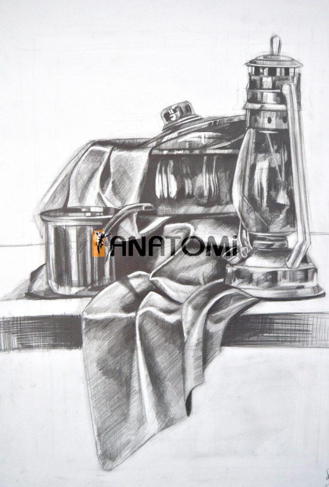 Karakalem Obje Kompozisyon çalışması Anatomi Sanat Akademisi